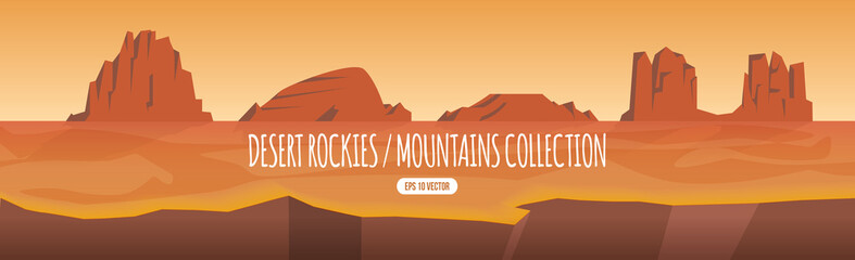 Desert rocky mountain, hill and canyon collection, western style landscape cartoon illustration template