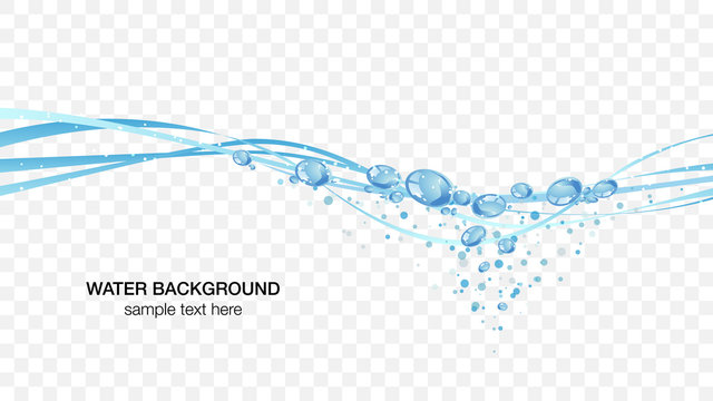 Water and bubbles water surface image, transparent background vector illustration wallpaper material