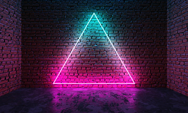 Triangle shaped glowing neon frame on brick wall in dark room