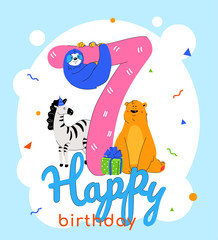 Children 7th birthday greeting card vector template