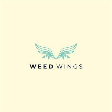weed with the wing shape logo design