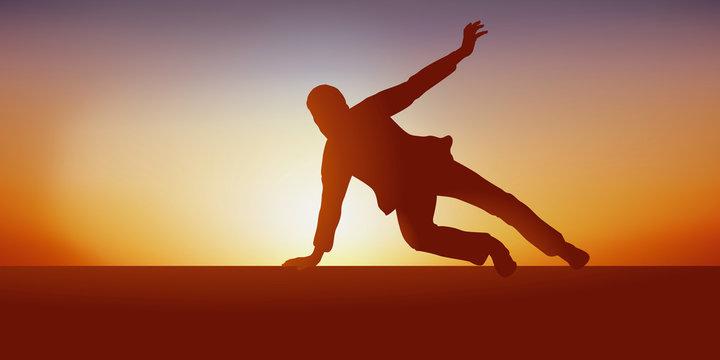 Concept de la fuite avec un homme qui cours et saute par dessus un obstacle pour échapper a ses poursuivants.