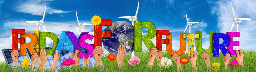 activist people holding up colorful wooden letter forming words fridays for future and earth globe blue sky green grass. climate change global warming renewable energy concept