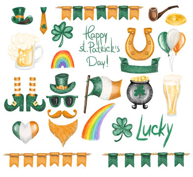 Collection of St.Patrick's Day elements, hand drawn isolated on a white background