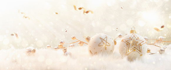 Wall Mural - Christmas Balls With Glitter Stars and Confetti