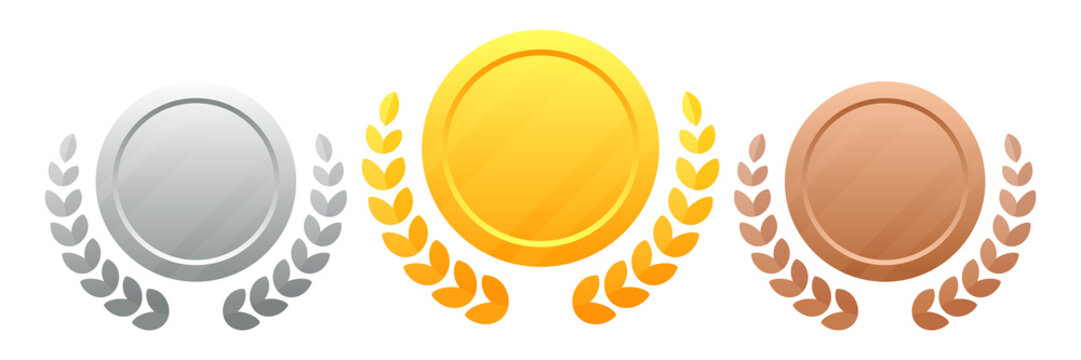 Medals with a wreath vector illustration eps 10. Champions Award. Set of medals gold, silver, bronze. Winners award.