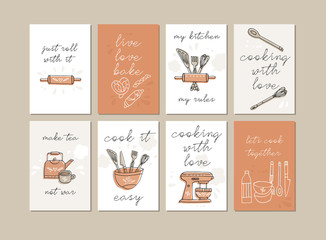 Estores personalizados para cocina con tu foto Vector iilustrations kitchen food and cooking quotes set. Inspirational typography for home decor, cafe, restaurant.