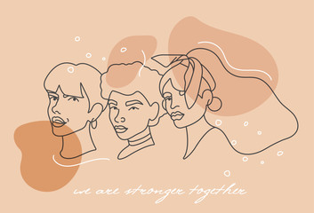 Vector illustration linear face portraits of young woman - girl power and feminist movement. Concept for prints, t-shirts.