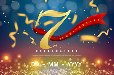 7 years anniversary logo template on gold and blue background. 7th celebrating golden numbers with red ribbon vector and confetti isolated design elements