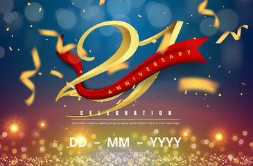 21 years anniversary logo template on gold and blue background. 21st celebrating golden numbers with red ribbon vector and confetti isolated design elements
