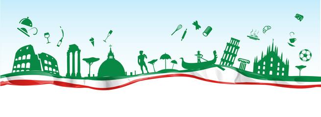 Fototapeta italian banner with symbol monument on flag