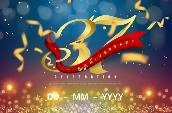 37 years anniversary logo template on gold and blue background. 37th celebrating golden numbers with red ribbon vector and confetti isolated design elements