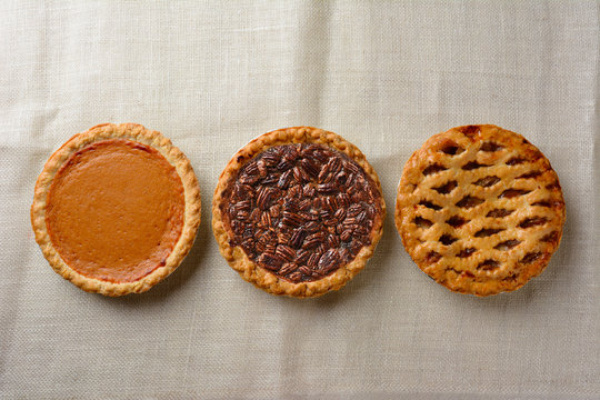 Overhead still life of fresh baked holiday pies