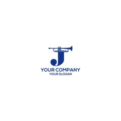 J trumpet music logo design vector