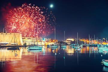Malta Valletta night Festival of fireworks. Travel concept
