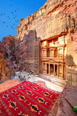 Wall Mural - Al Khazneh - the treasury temple, ancient city of Petra, Jordan