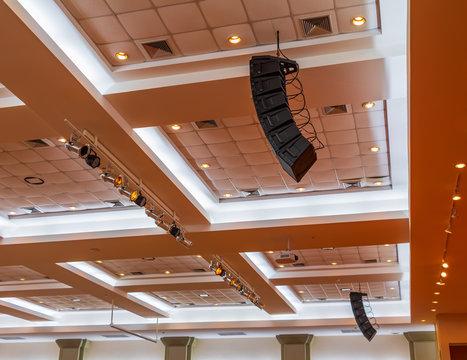 loudspeaker sound system hang ceiling in meeting room