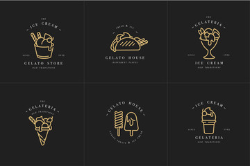 Vector set design golden templates logo and emblems - ice cream and gelato. Difference ice cream icons. Logos in trendy linear style isolated on white background.