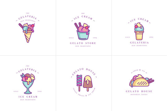 Vector set design colorful templates logo and emblems - ice cream and gelato. Difference ice cream icons. Logos in trendy linear style isolated on white background.