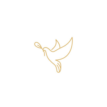 Vector linear illustration dove holding olive branch. Symbol of peace on earth. Golden color.