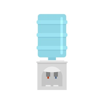 Plastic water cooler icon. Flat illustration of plastic water cooler vector icon for web design