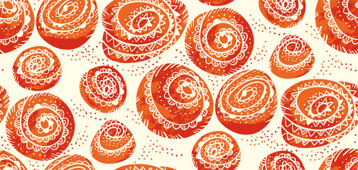 Cute cinnamon bun winter bakery seamless pattern