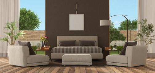Master bedroom of a modern villa