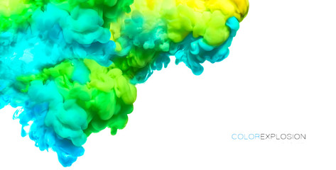 Acrylic Ink in Water. Paint Texture. Color explosion banner Wall mural