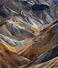Wall Murals Deep brown River along a Valley in Landmannalaugar among colorful mountains, Iceland