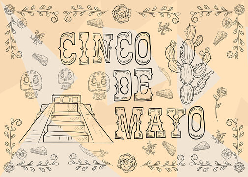 contour illustration 19 poster design sticker with pattern frame Mexican theme for event decoration and backgrounds