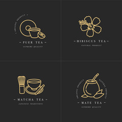 Vector set design golden templates logo and emblems - organic herbs and teas . Different teas icon-puer, hibiscus, mate and matcha. Logos in trendy linear style isolated on white background.