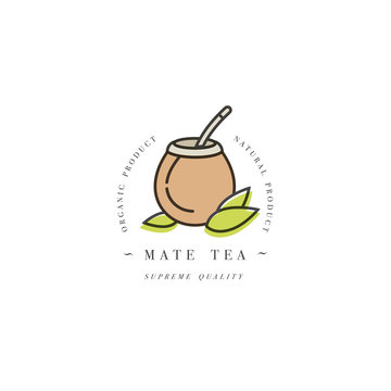 Packaging design template logo and emblem - mate tea. Logo in trendy linear style isolated on white background.
