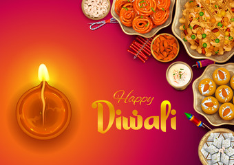 Wall Mural - illustration of burning diya and Indian Sweet on Happy Diwali Hindu Holiday background for light festival of India