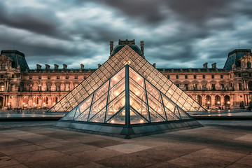 Louvre museum in evening