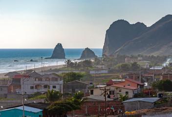 High view of the town and beach of San Lorenzo, Manabi, Ecuador, close to sunset.