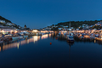 Looe Harbour from the bridge at night