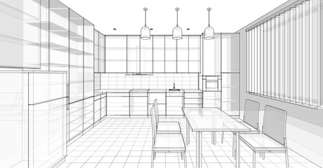 modern kitchen interior 3d illustration