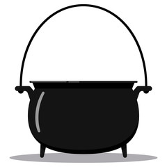 Black cast-iron empty cooking pot flat style vector illustration cauldron with handle icon isolated on white background.