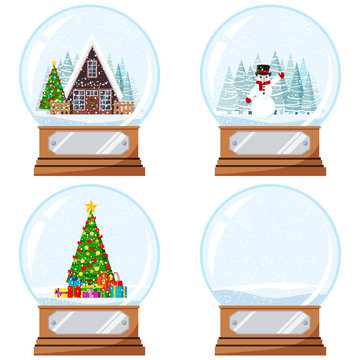 Christmas and New Year design crystal snow globe toy with decorated house, xmas tree with gifts, snowmen vector flat.