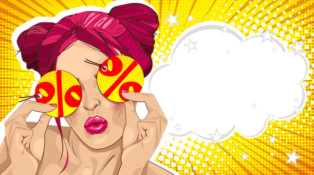 Wow female face. Sexy surprised young woman with pink hair. Vector bright background in pop art retro comic style. Beautiful pink lips. Label, label or price tag in hands.