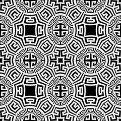 Black and white ornamental greek vector seamless pattern. Geometric monochrome modern background. Abstract repeat decorative backdrop. Greek key meanders ancient style ethnic ornament. Isolated design