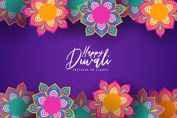 Happy diwali festival card of 3d papercut flowers