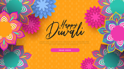 Happy diwali indian flowers web page template