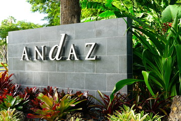 MAUI, HI -5 APR 2018- View of the logo sign at the entrance of the Andaz Maui hotel, a luxury resort in the exclusive Wailea area on the West shore of the Hawaiian island of Maui.