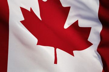 Canadian National Holiday. Canadian Flag background with maple leaf and national colors.