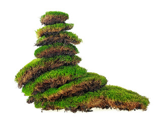 Various pieces of moss folded in the form of a pyramid, white background.