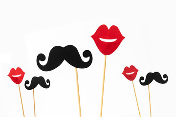 Photo booth props lips and Black Mustache isolated on white background Wall mural