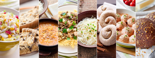 Collage of pictures of delicious food