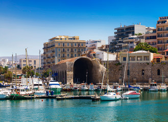 The old Venetian harbour and the Arsenal building in Heraklion, Crete, Greece.