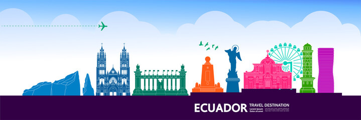 Fotomurales - Ecuador travel destination grand vector illustration.